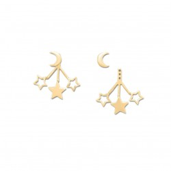 14K Gold Plated Moon and Stars Front Back Earrings