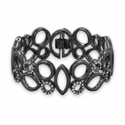 "7"" Hematite Plated Brass Bracelet with CZ Geometric Design"