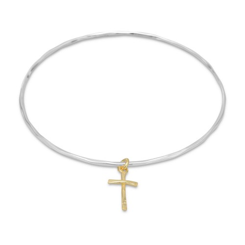 Textured Bangle with 14 Karat Gold Plated Cross Charm