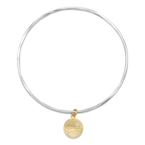"Textured Bangle with 14 Karat Gold Plated ""PEACE"" Tag"