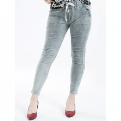 Plus Size Casual Embrodered Drawstring Jeans - Blue Gray 32
