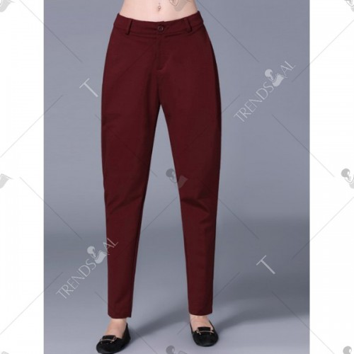 Pockets Design Zip Fly Pencil Pants - Wine Red 5xl