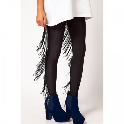 Stylish Ombre Color Fringed Bodycon Leggings For Women - Black 2xl