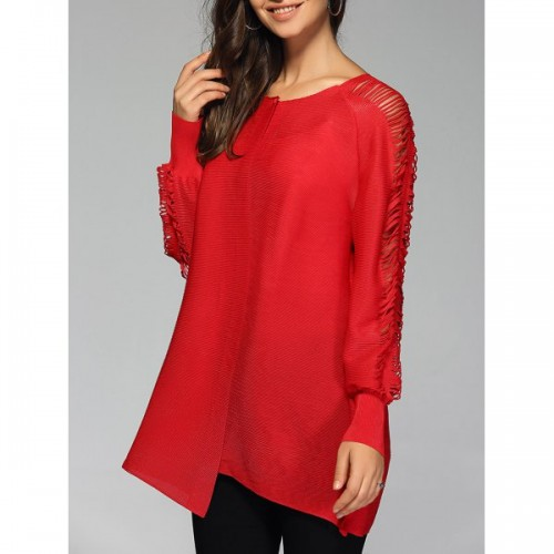 Stylish Pure Color Ripped Blouse For Women - Red One Size
